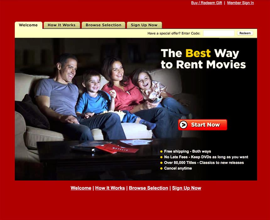 Netflix Rental Website year 2000