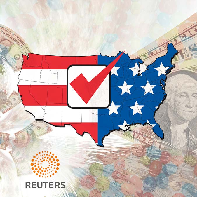 Reuters Article - USA Election Map with money and candyR